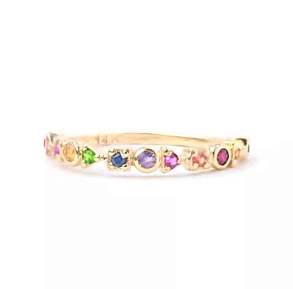 0.15 Ct Natural Multi Gemstone 14K Gold Half Eternity Ring
