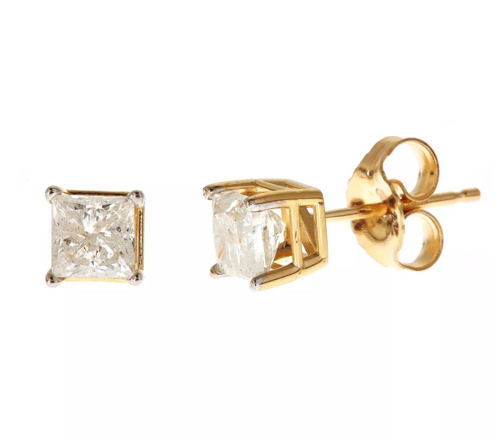 .40Ct Natural Diamond Princess Cut 14K Yellow Gold Studs