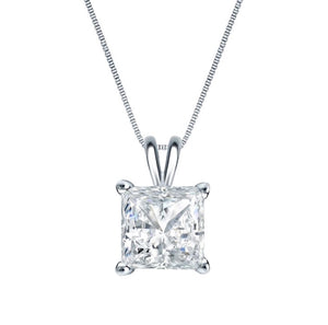 1.0 CT Princess Cut Pendant 14K White Gold Necklace