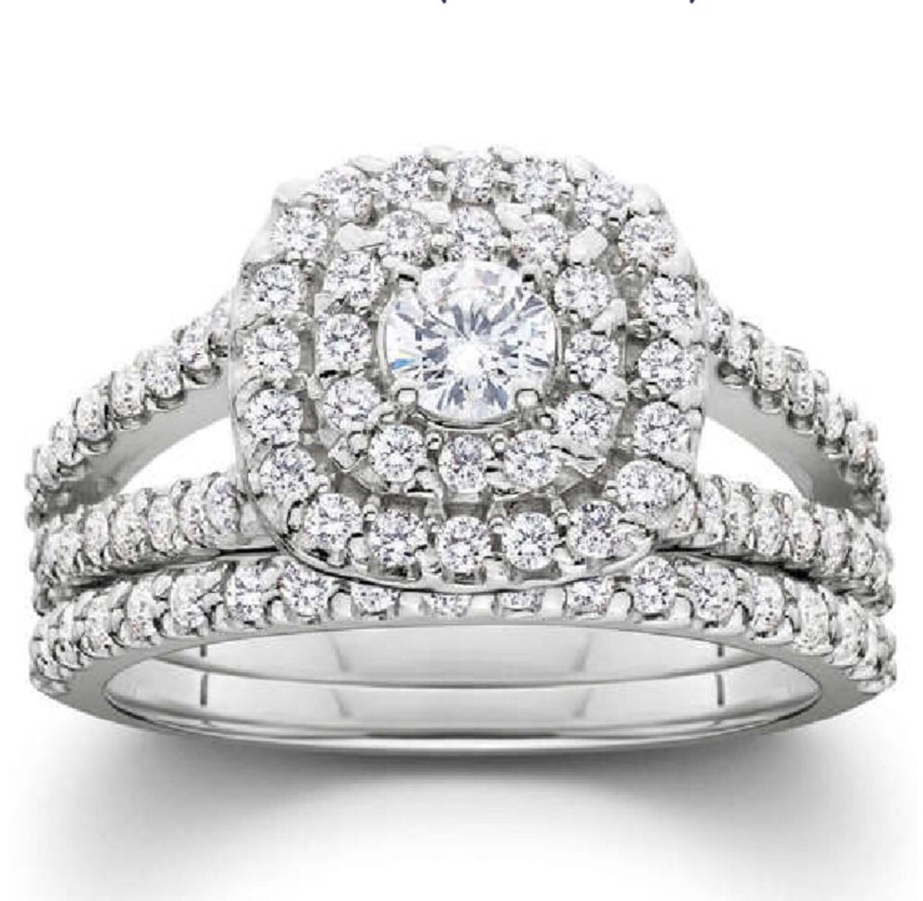 1 1/10ct Cushion Halo Diamond 10K Wedding Ring Set