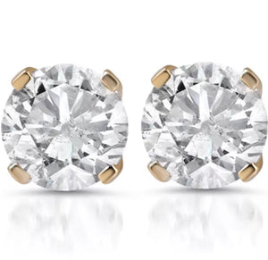1.00 CT Natural Diamond Solid 14K Yellow Gold Stud Earrings