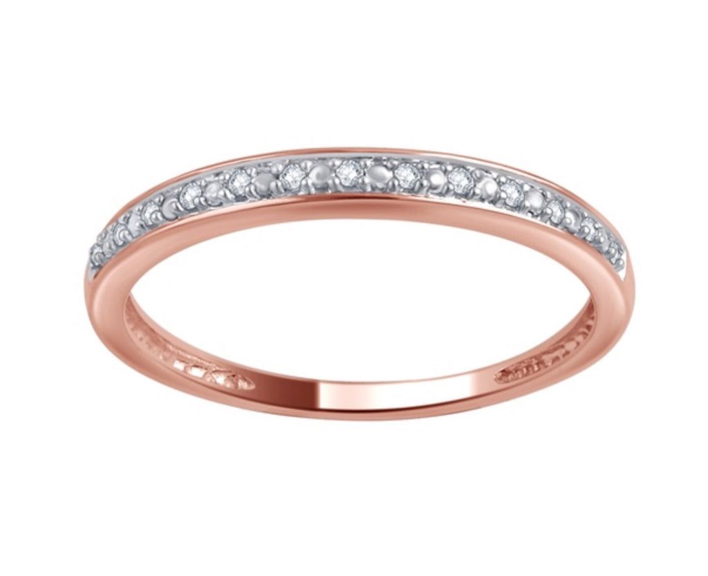 Genuine Diamond 10K Solid Rose Gold Ring