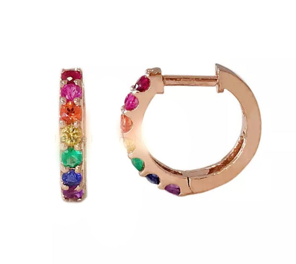 Natural Multi Gemstone Solid 14K Gold Huggie Hoop Earrings