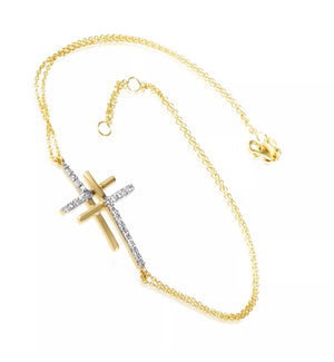 0.15 CTW Natural Diamond 14K Yellow Gold Two Cross Bracelet