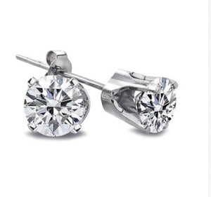 .50 Ct Natural Diamond 14K White Gold Stud Earrings
