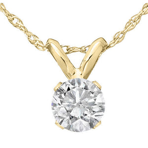 1.0 CT Round Pendant 14K Yellow Gold Necklace