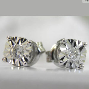 Natural Diamond Miracle Plate Sterling Silver Stud Earrings