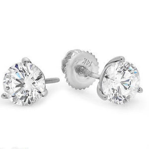 2.0 Ct Diamond Martini 14K White Gold Stud Earrings
