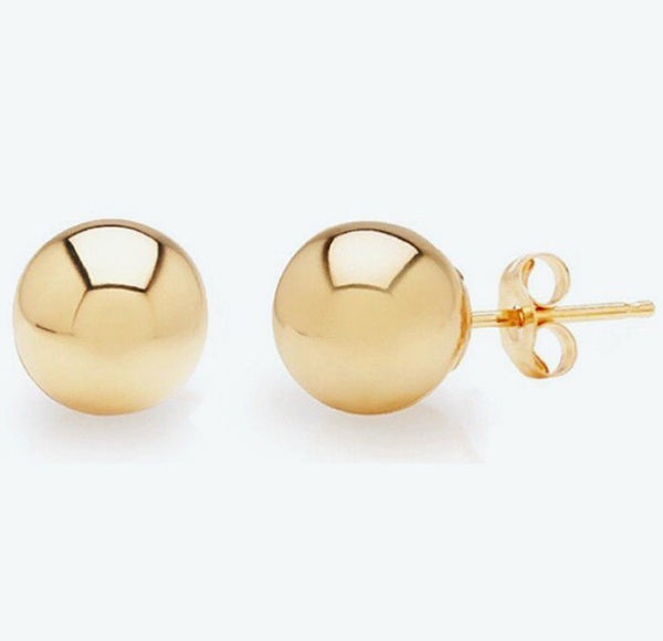 Solid 14K Yellow Gold Ball Stud Earrings 3mm-10mm