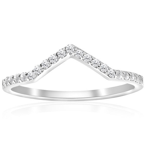 ".20 Ct Natural Diamond ""V"" 10K White Gold Ring"