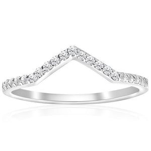 "0.20 Ct Natural Diamond ""V"" Shape Solid 10K White Gold Ring"