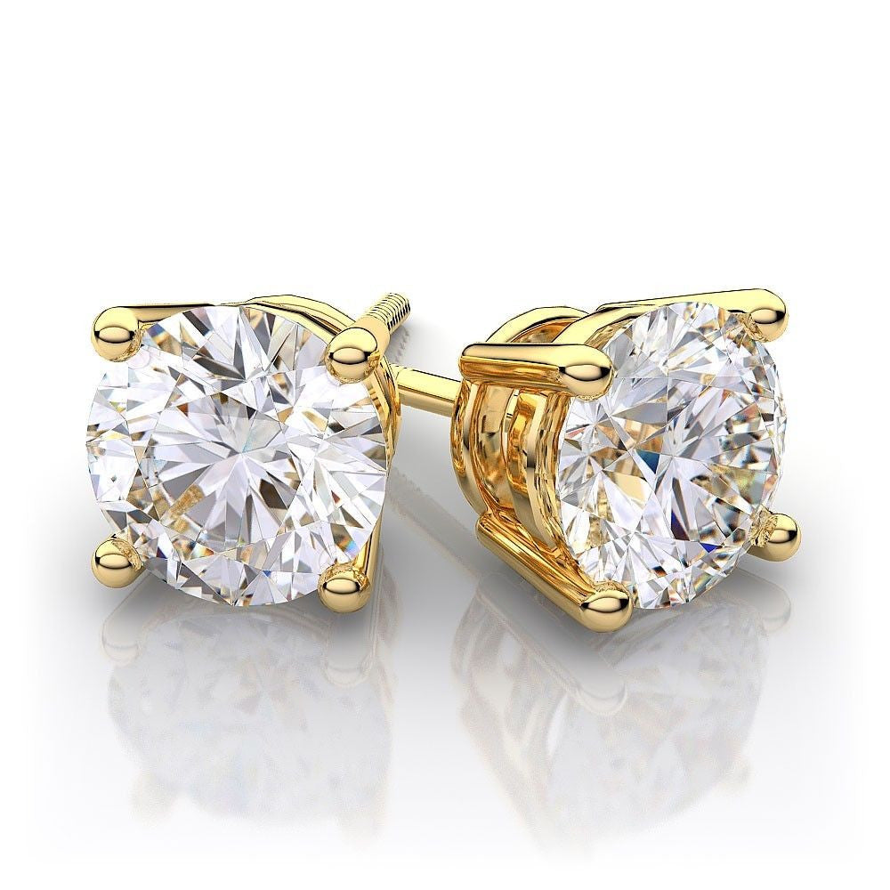 7.0 Ct Diamond 14K Yellow Gold Stud Earrings