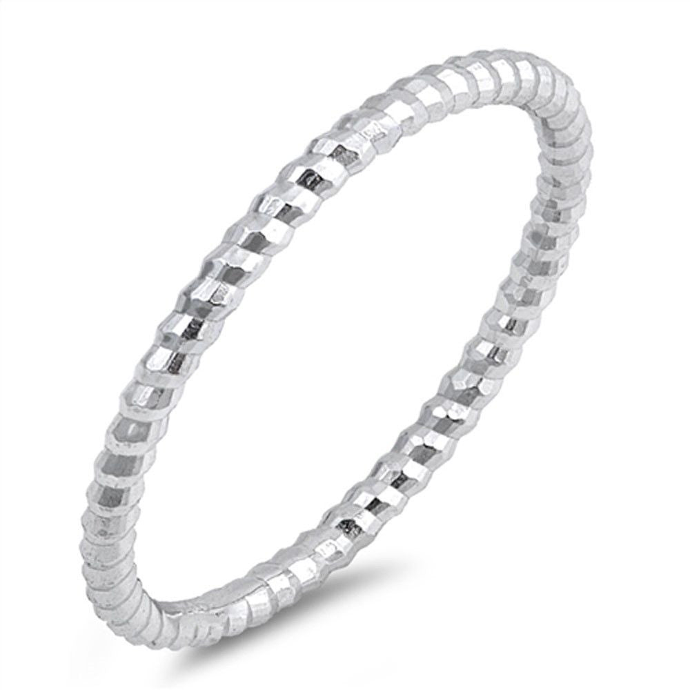 Diamond Cut Sterling Silver Stackable Band