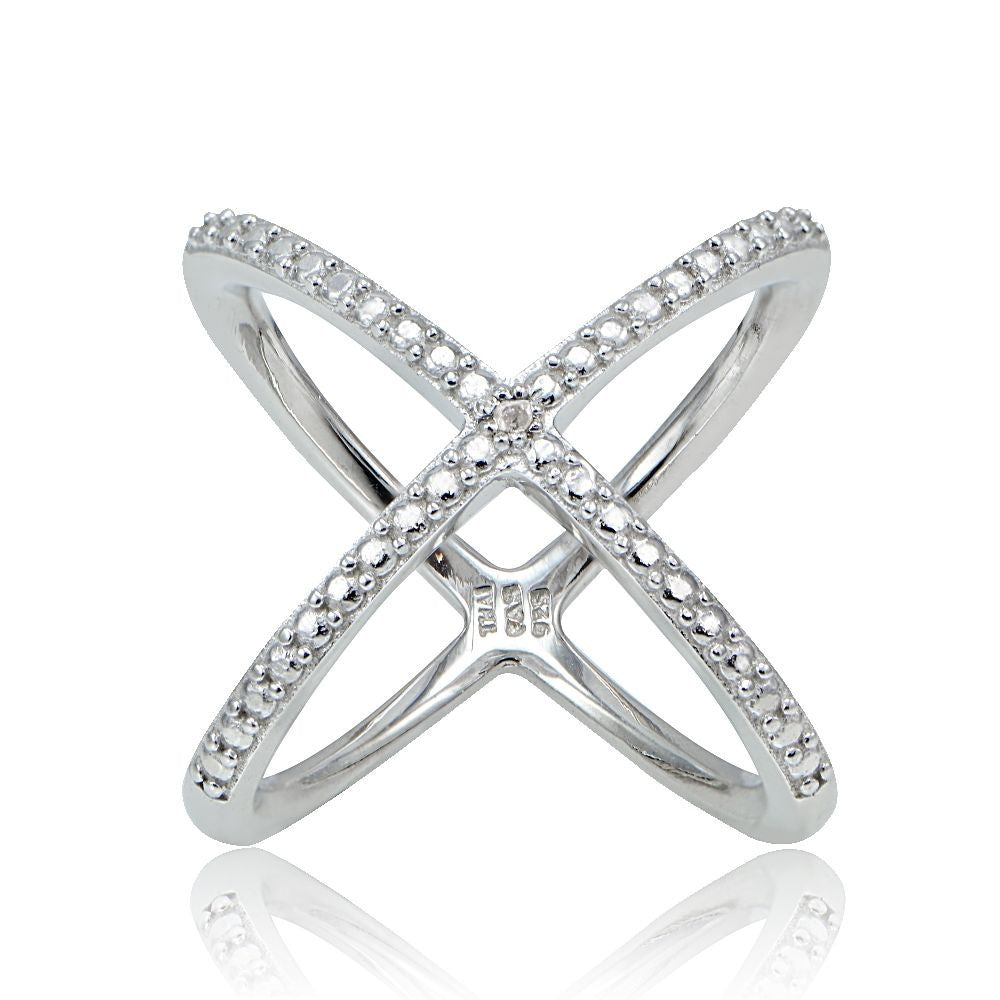 Natural Diamond Accent Sterling Silver X Ring