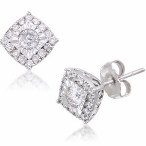 1/4 Cttw Natural Diamond Sterling Silver Halo Earrings