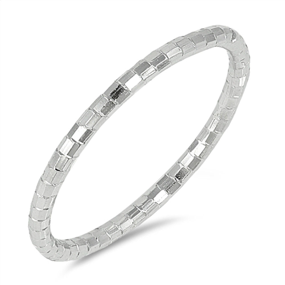 Diamond Cut Stackable Sterling Silver Band