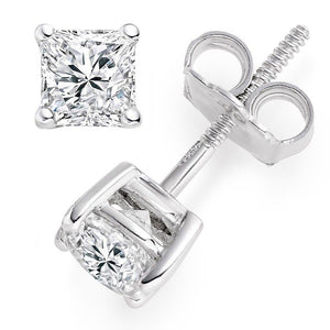 2.0 Ct Diamond Princess Cut Solid 14K White Gold Stud Earrings