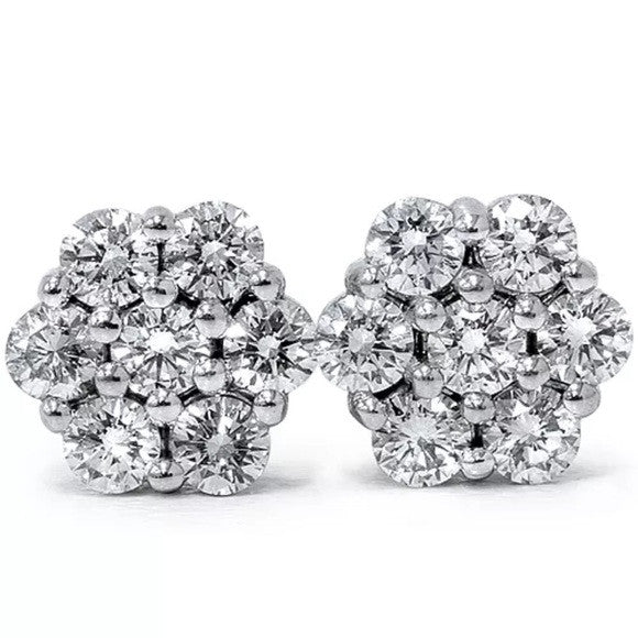 0.25 Ct Natural Diamond Cluster Studs