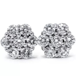 0.50 Ct Natural Diamond Flower Cluster Stud Earrings