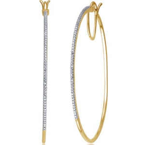 Natural Diamond Accent 14K Yellow Gold Hoop Earrings