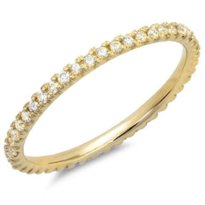 0.20 Ct Natural Diamond Full Eternity Stackable Band in 10K 14K or Sterling Silver