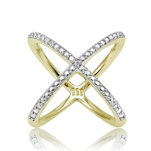 Natural Diamond Accent Yellow Gold X Ring