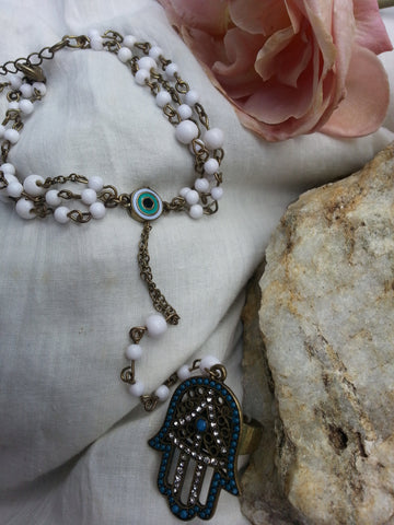 Hamsa Turquoise Ring with Attached Bracelet~ By: Nina Fontana