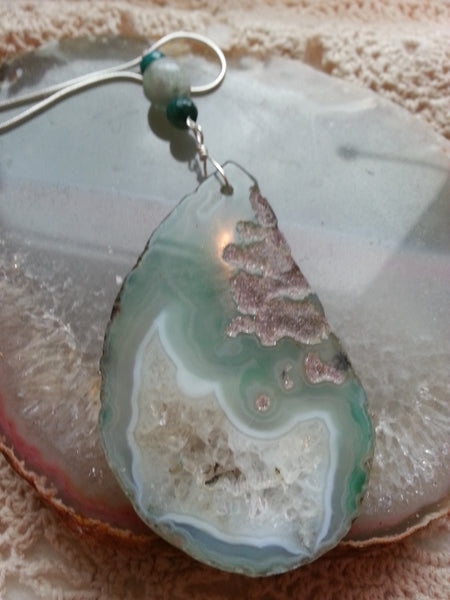 Healing Agate, Amazonite and Green Jasper on a 925 Sterling Silver Snake Chain