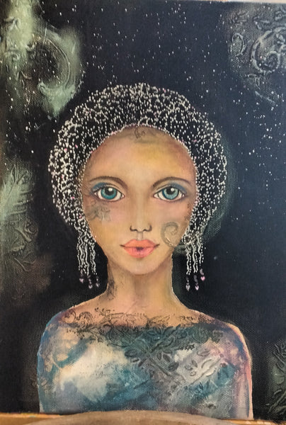 "Original Painting "" The Goddess of The Stars"" By Nina Fontana"