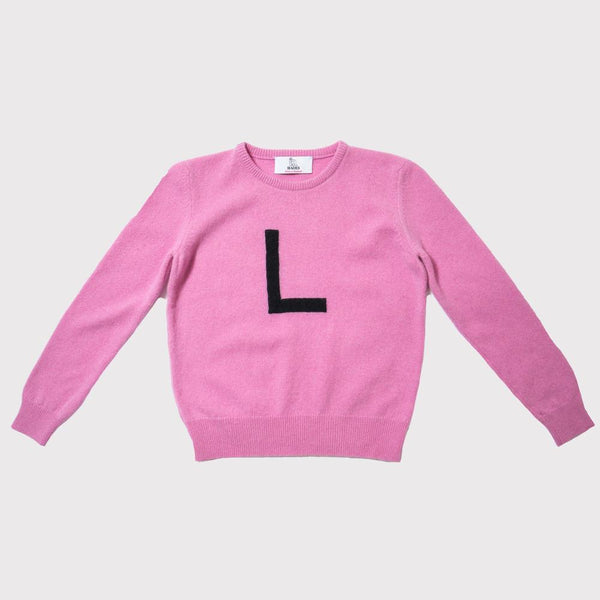 Hades L letter jumper, 100% wool made in Scotland
