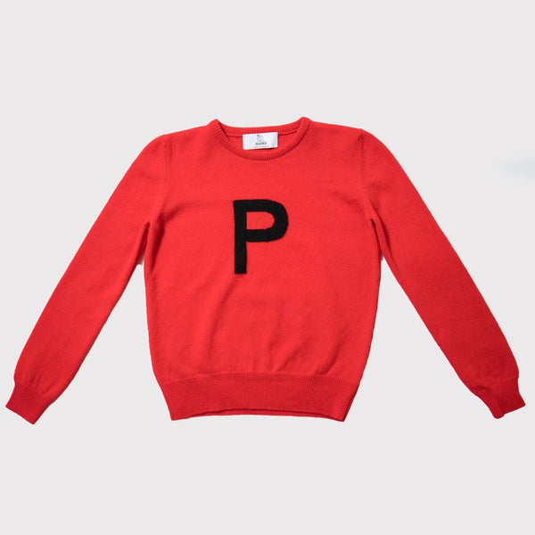 Hades P letter jumper, 100% wool made in Scotland