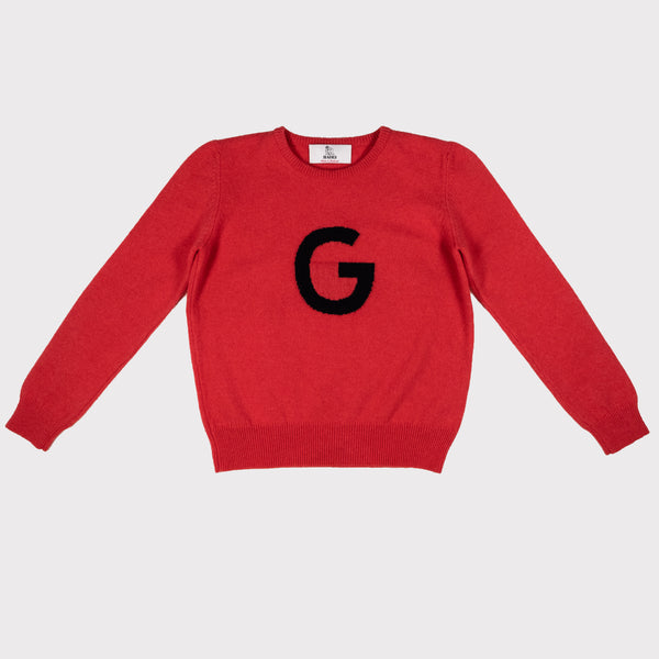 Berry red G letter jumper