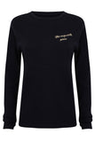 The Exquisite Pain jumper. Navy and Cream merino wool jumper. Embroidered jumper.