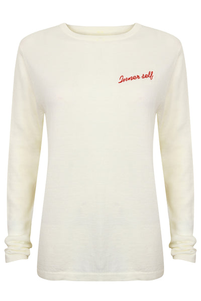 Inner Self. Cream and Red merino wool jumper. Embroidered jumper.
