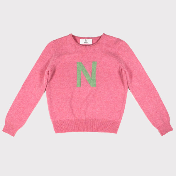 blossom pink and green letter jumper