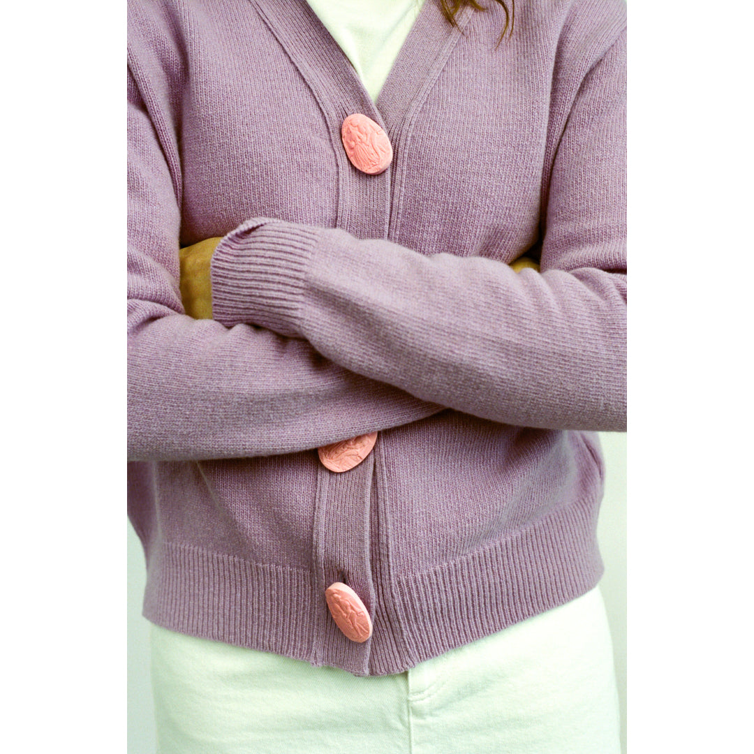 Carrington Cardigan | Lilac | Romantic Scene