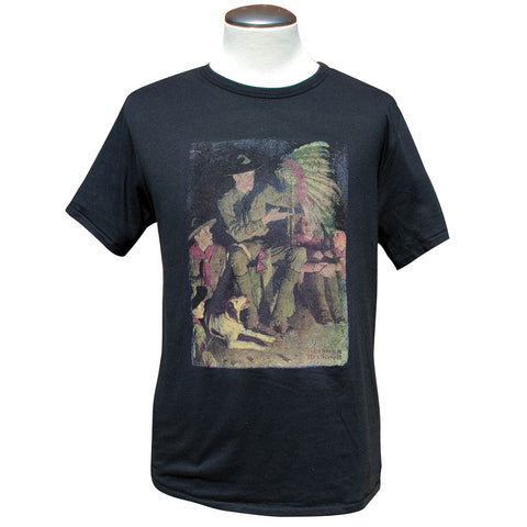 Norman Rockwell - Campfire Story, Black T Shirt