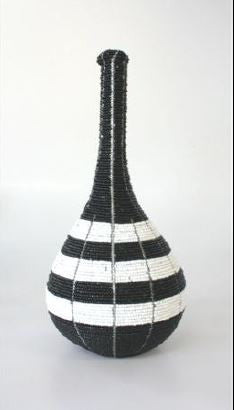 Beaded Vase - Black and White Striped - Large - Love Africa Decor & Gallery