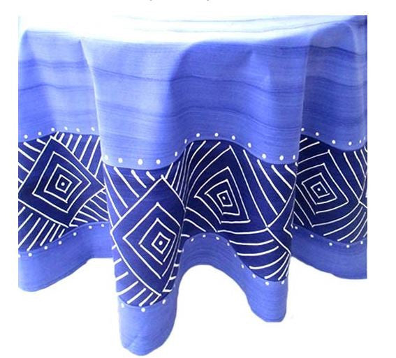 Blue Geometric - Round Table Cloth - Love Africa Decor & Gallery