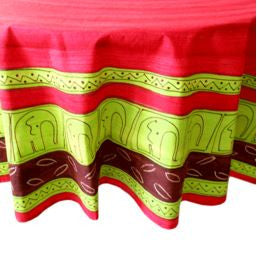 Elephant Lime - Round Table Cloth - Love Africa Decor & Gallery