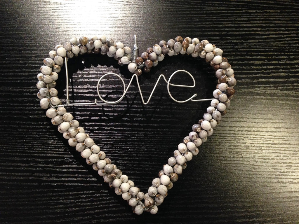 Hand Beaded - 'Love & Heart' Sign - Large - Love Africa Decor & Gallery
