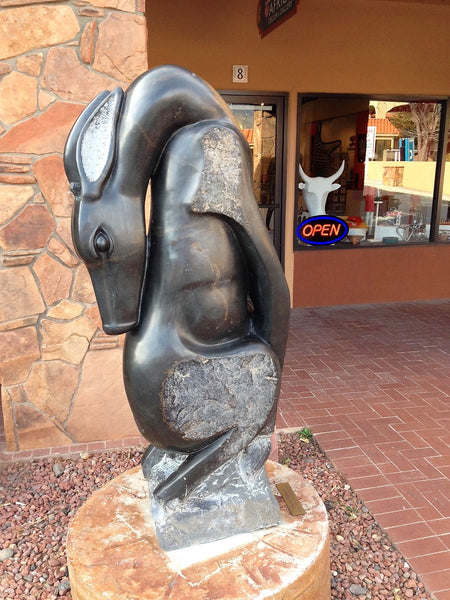 Shona Sculpture by Gedion Nyanhongo - 'Preening Waterbuck' - Love Africa Decor & Gallery  - 2