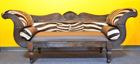 Zebra Hide and Italian Leather Two Seater Love Seat - Love Africa Decor & Gallery  - 1