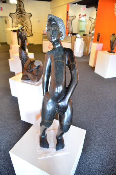 Shona Sculpture by Gedion Nyanhongo - 'Trying to Cover' - Love Africa Decor & Gallery  - 2