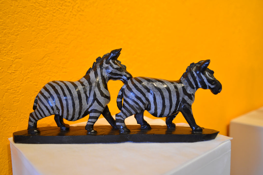 Shona Sculpture by Nyati - 'Zebra Lovers' - Love Africa Decor & Gallery