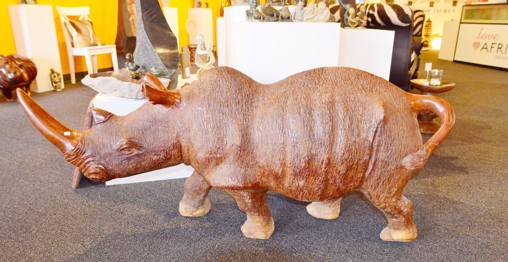 Wood Carving - Large Rhino - Love Africa Decor & Gallery