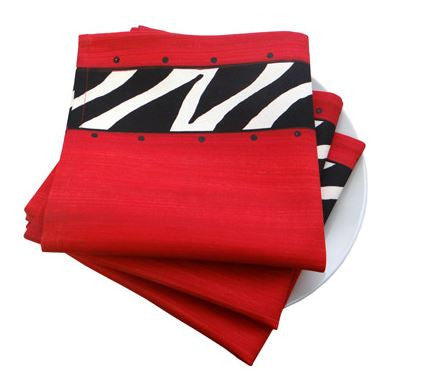 Red Zebra - Napkins - Set of 6 - Love Africa Decor & Gallery