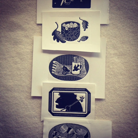 Cameron Short's set of Block-prints for The Maker's Tales, The New Craftsmen, London
