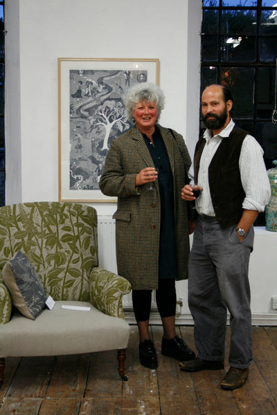 Artist Cameron Short - winner of the 2015 Marshwood Arts Awards - with upholsterer Peta Inglesent.