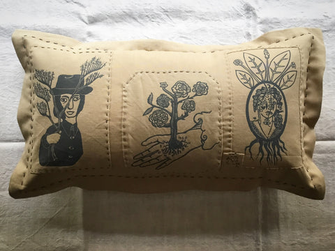 'Folk' cushion - 'Needle furze, the hand of John England & lost liberty'